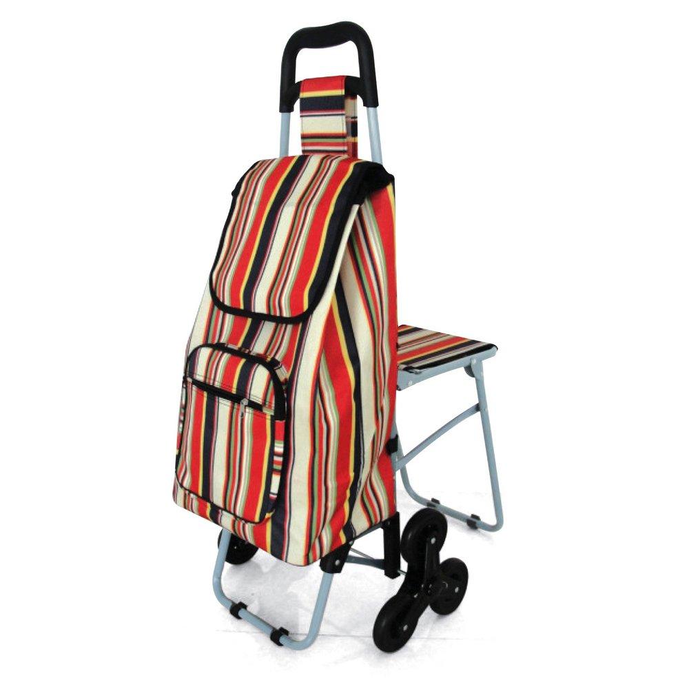 NRS Healthcare M78743 Carrito de la compra con ruedas triples y asiento plegable