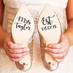 Vinyl Art Decal - Custom Mrs and Established Date - Custom Size - Modern Elegant Personalized Bride Wedding Shoes Marriage Reception Photography Love Couples Groom Husband Wife Decor