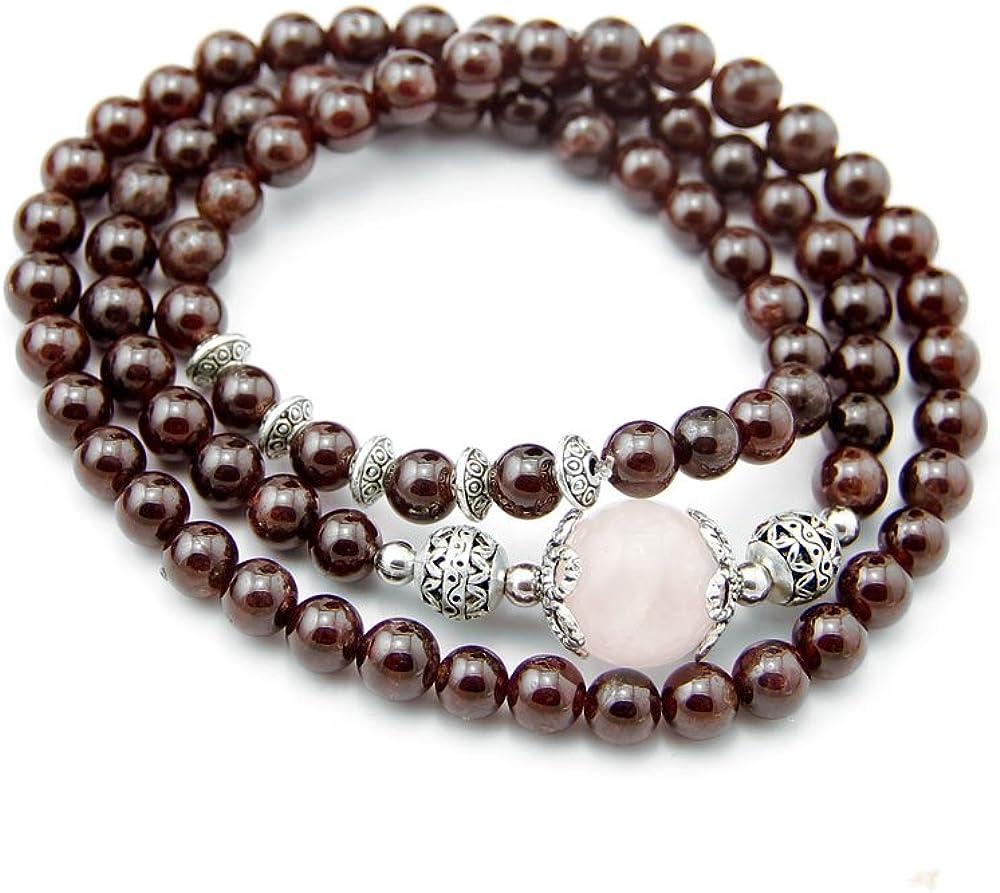 Agathe CP15002 Creation-pulsera de cuarzo, diseño de piedras, color rosa, granate natural y metal, color plateado con perlas de piedra, granate, diámetro 7 mm, hecho a mano