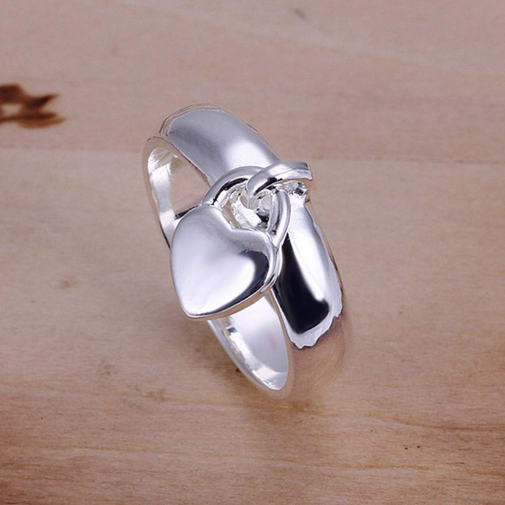 super1798 Fashion Silver Plated Heart Lock Engagement Promise Ring Charming Luxury Gift - 7 by super1798 (Image #7)