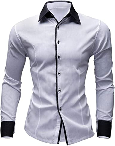 Hombre Camisas Moda Manga Larga de Color Puro para Hombre Men Fashion Slim Fit Casual Long Sleeves Shirts 2028: Amazon.es: Ropa y accesorios