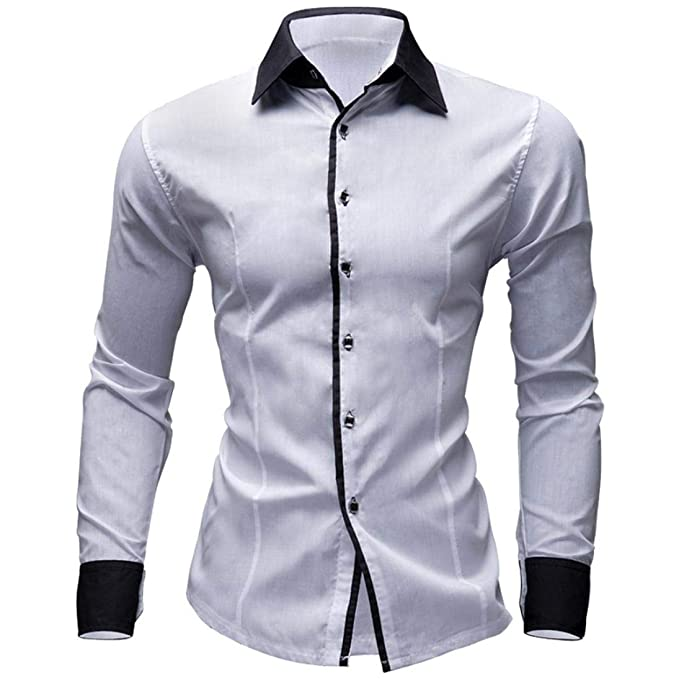 Hombre Camisas Moda Manga Larga de Color Puro para Hombre Men Fashion Slim Fit Casual Long