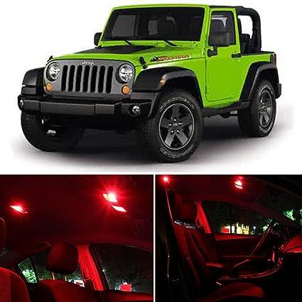CCIYU For 2007 2017 Jeep Wrangler Interior LED Light Package Kit 8 Pcs Red  Lights