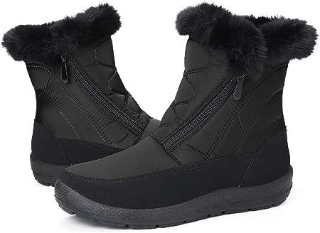 gracosy Botas Nieve Mujer de Piel Invierno Planos Cremallera Zapatos Antideslizante Calentar Botas Tela Sintética Negro Media