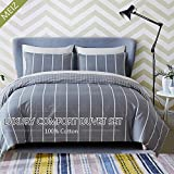 quilt covers - Meiz 3-piece Duvet Cover Set - 1 Duvet Cover and 2 Pillowcases- 300 Thread Count 100% Cotton Quilt Cover Queen - Ultra Soft & Durable Bedding Set - with Zipper Ties
