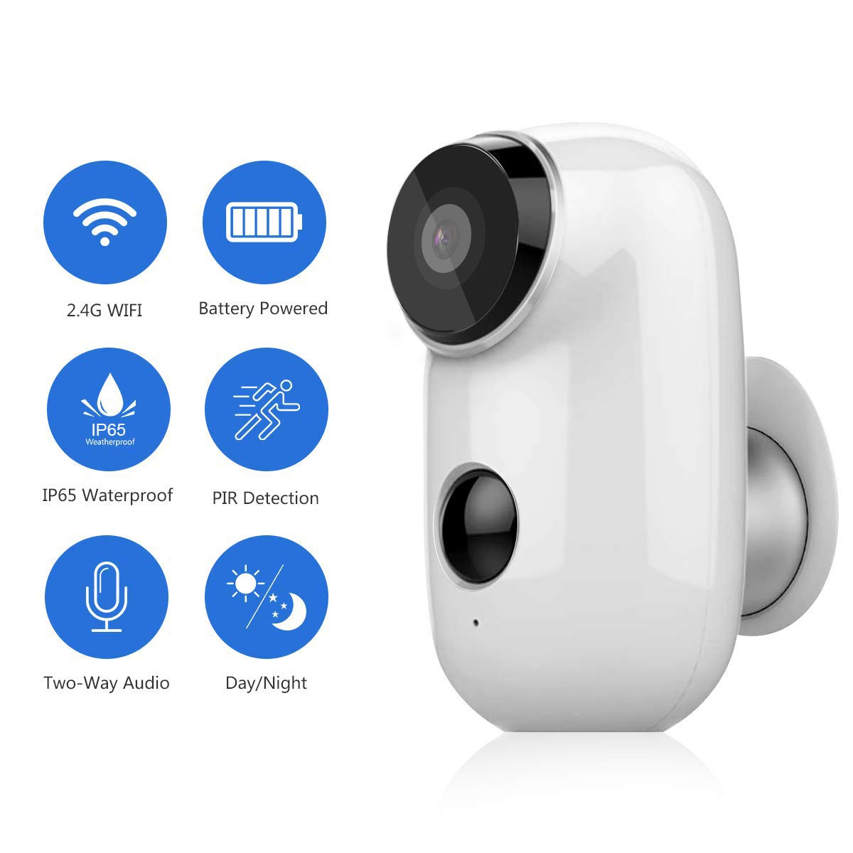 Wireless Security Camera HD 1080P Abowone Rechargeable Battery Powered Camera WIFI IP Camera Wire-Free Waterproof Indoor/Outdoor Security Camera Two Way Audio PIR Sensor/Body Detection HD Night Vision by Abowone