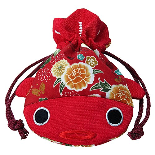 ✨ BAR Charming ✨ Red Japanese Chirimen & Kimono Print Fabric Goldfish Drawstring Pouch Coin Purse Cosmetic Jewelry Key Travel Storage Bag Valentine's Day Gift (Kimono Bag Purse)