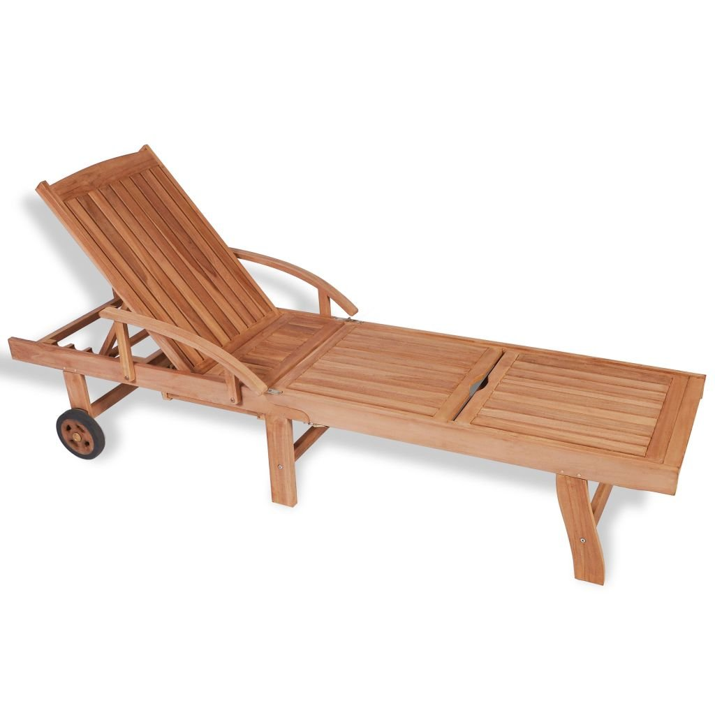 Festnight Outdoor Patio Chaise Lounge Chairs with 2 Wheels, Sun Lounger Teak Wood 76.8'' x 23.4'' x 13.8''