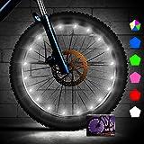 Creatour - Luces de rueda de bicicleta con luz LED de apagado automático, resistente al agua, con pilas superbrillantes…
