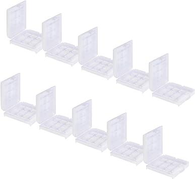 Caja de almacenamiento para pilas recargables Estuche casos box para 4 x AA Mignon o 4 x AAA Micro pilas / batería Conjunto de 10: Amazon.es: Electrónica