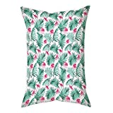 iPrint Satin Throw Pillow Cushion Cover,Watercolor,Tropical Ferns with Flowers Exotic Hawaii Floral Arrangement Blossoming Nature Decorative,Seafoam Pink,Decorative Square Accent Pillow Case