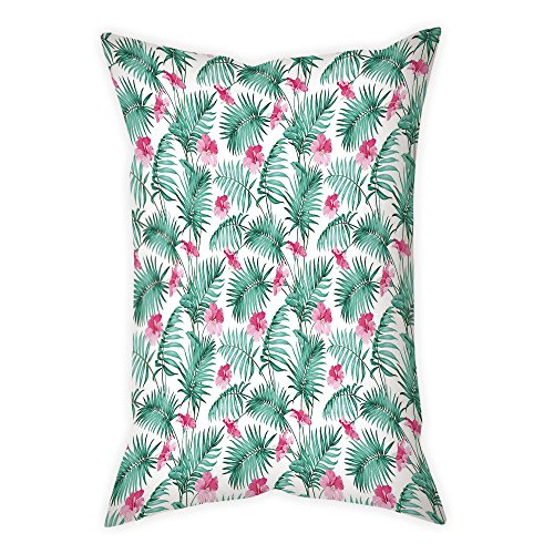 iPrint Satin Throw Pillow Cushion Cover,Watercolor,Tropical Ferns with Flowers Exotic Hawaii Floral Arrangement Blossoming Nature Decorative,Seafoam Pink,Decorative Square Accent Pillow Case by iPrint