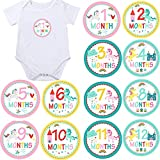 Unicorn Monthly Baby Stickers, Girls Bodysuit Stickers Infant Month Stickers, Great Shower Gift Excellent Baby Photo Props, 12 Pieces-10CM