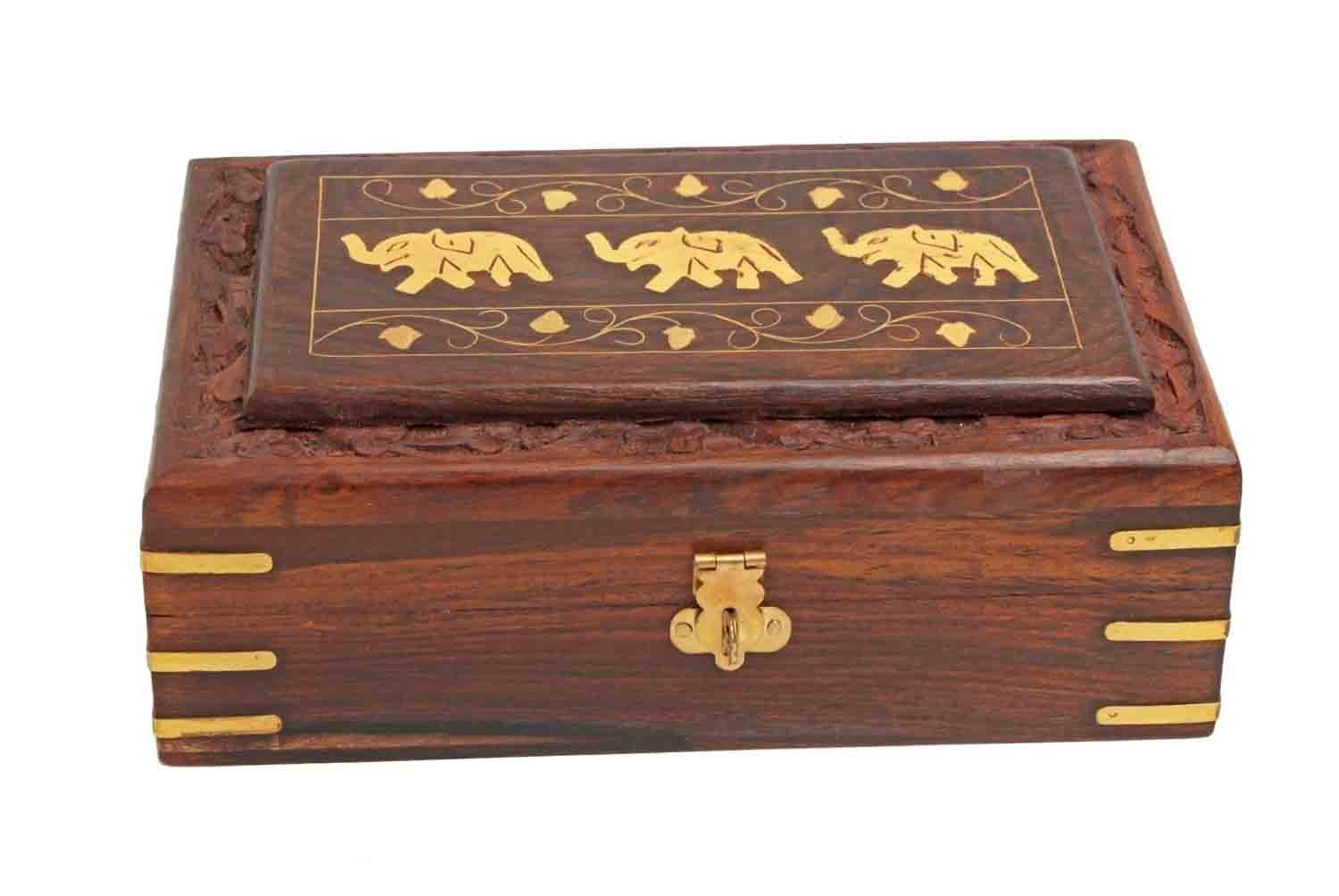 IndiaBigShop Decorative Wooden Jewelry Trinket Holder Keepsake Storage Box Organizer with Intricately Hand Carved Tripple Elephant Brass Inlay & Velvet Interior 8 X 5 Inch