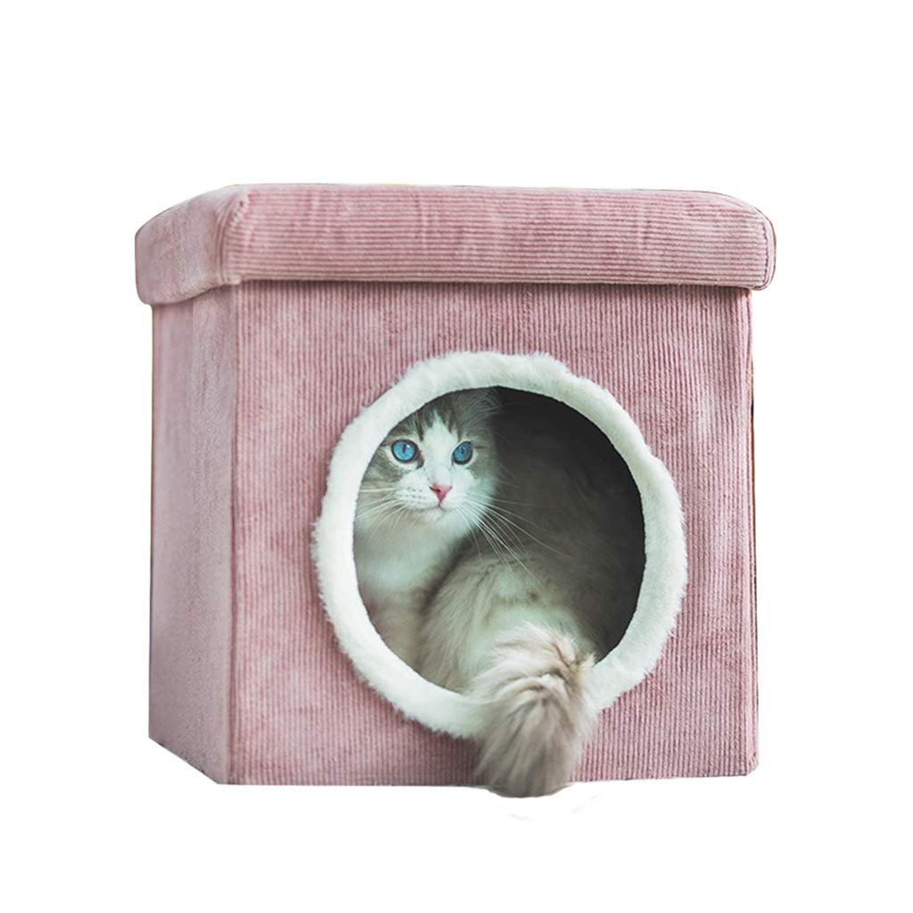 Pink Four Seasons General Closed Cat House-It Can Be Used As A Stool,Self Warming and Breathable Pet Bed Premium,Multiple Sizes and colors Available (color   Pink)
