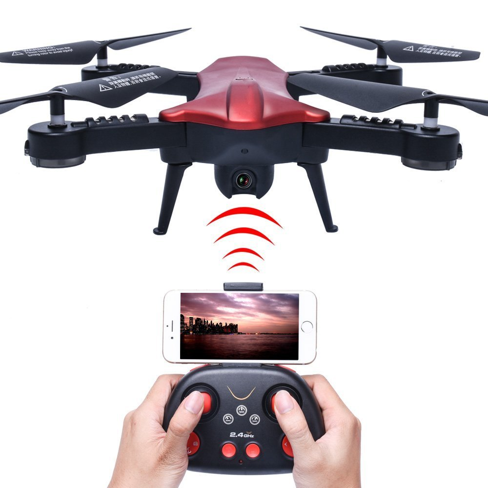 Black With Red PowerLead WIFI 720P HD Camera FPV Quadcopter 2.4GHz 6 Axis Gyro RC Quadcopter With Camera Foldable Arm Altitude Hold Pocket Drone