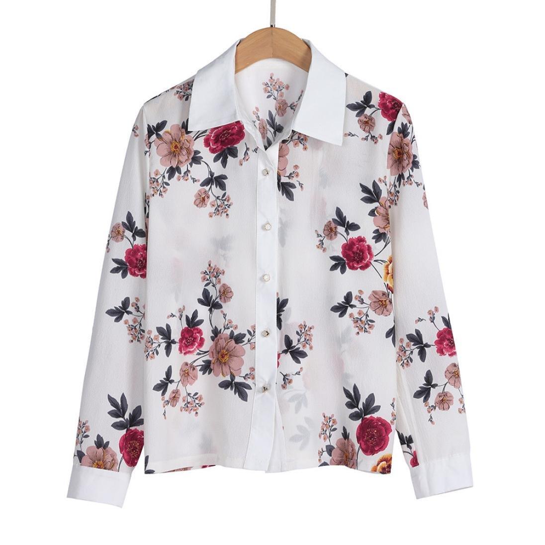 55c3bc85336 Sannysis Floral Tops for Women Print Chiffon Sexy White Blouses Long Sleeve  Casual Tops Designer Blouse Hawaiian T-Shirt at Amazon Women's Clothing  store: