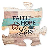 Faith Hope & Love Multicolor 12 x 12 Wood Wall Art Puzzle Piece Plaque
