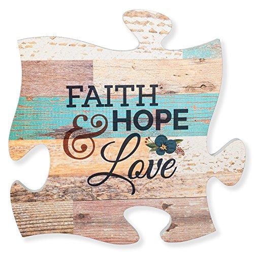 Hope Faith Love Plaques - P. Graham Dunn Faith Hope & Love Multicolor 12 x 12 Wood Wall Art Puzzle Piece Plaque