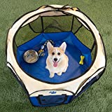 """PETMAKER Pop-Up Pet Playpen with Carrying Case for Indoor/Outdoor Use 31.5"""" x 22""""-Portable Travel-Great for Dogs, Cats, Small Animals (Blue)"""