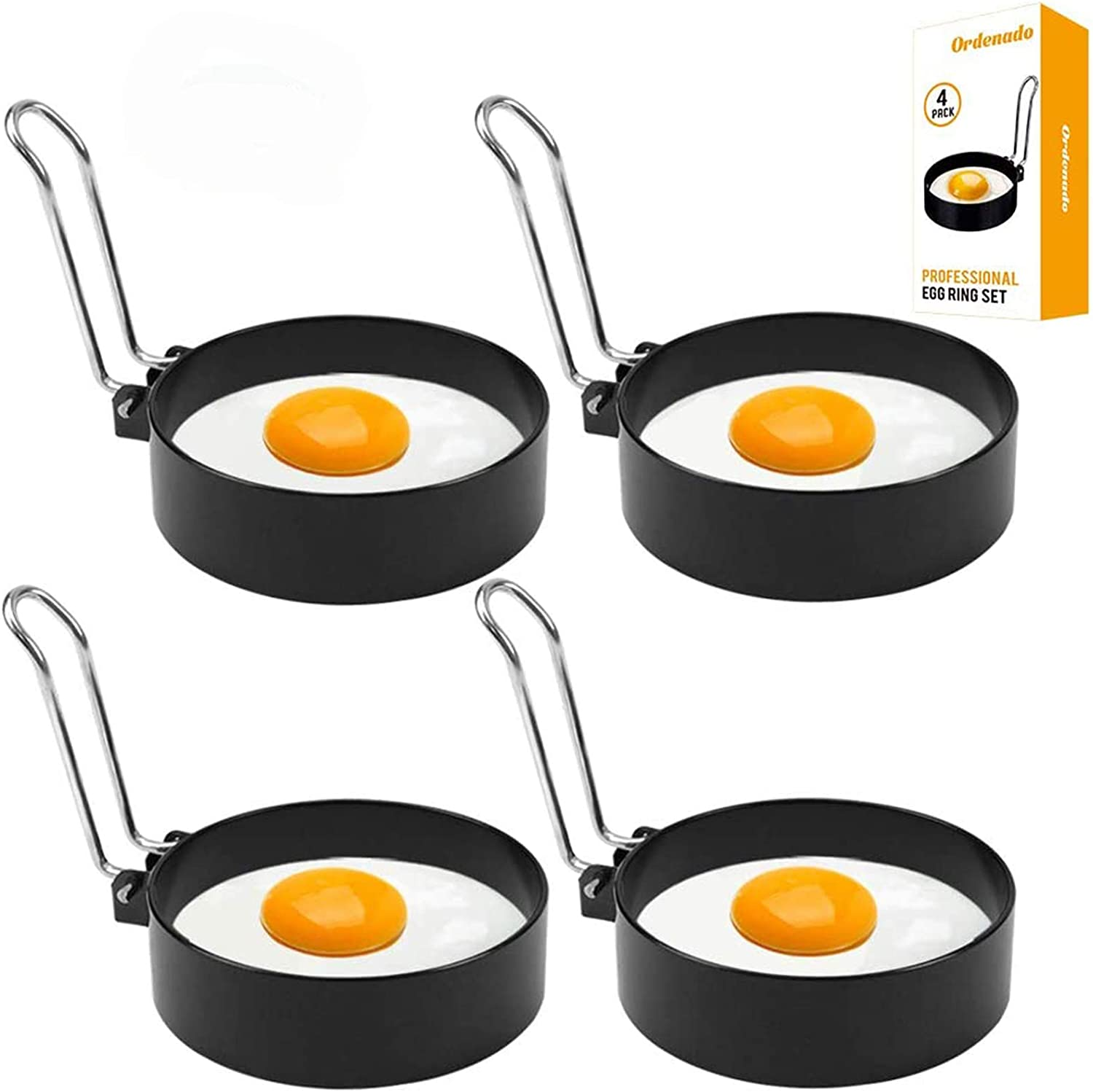 Egg Rings Mold for Cooking, Stainless Steel Round Egg Cooker Ring Nonstick Fried Egg Maker Molds Shaper Breakfast Household Kitchen Eggs Tool for perfect pancake, Sandwich, McMuffin (4 Pack)