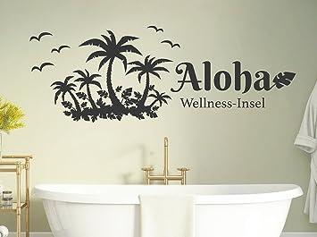 tjapalo® s-pkm413 Wandtattoo Badezimmer sprüche Insel Wandtatoo Aloha  Wellness Insel - viele Farben (B58 x H21 cm mini)