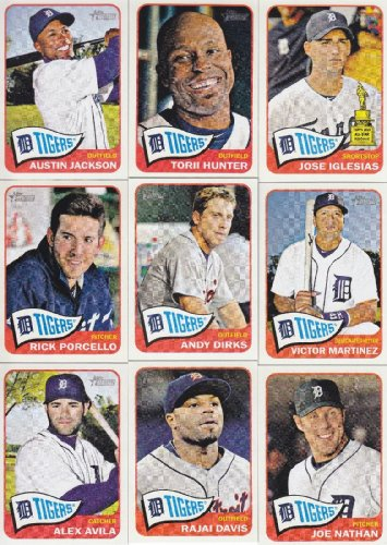 Detroit Tigers 2014 Topps Heritage MLB Baseball Complete Mint Basic 9 Card Team Set with Torii Hunter Plus (Basic Tiger)