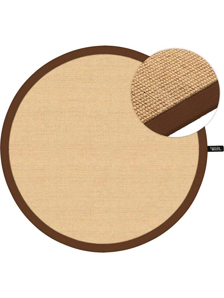 Benuta Sisal Teppich mit Bordüre Durchmesser 160 cm Rund, Jute, Braun, 160 x 160 x 2 cm