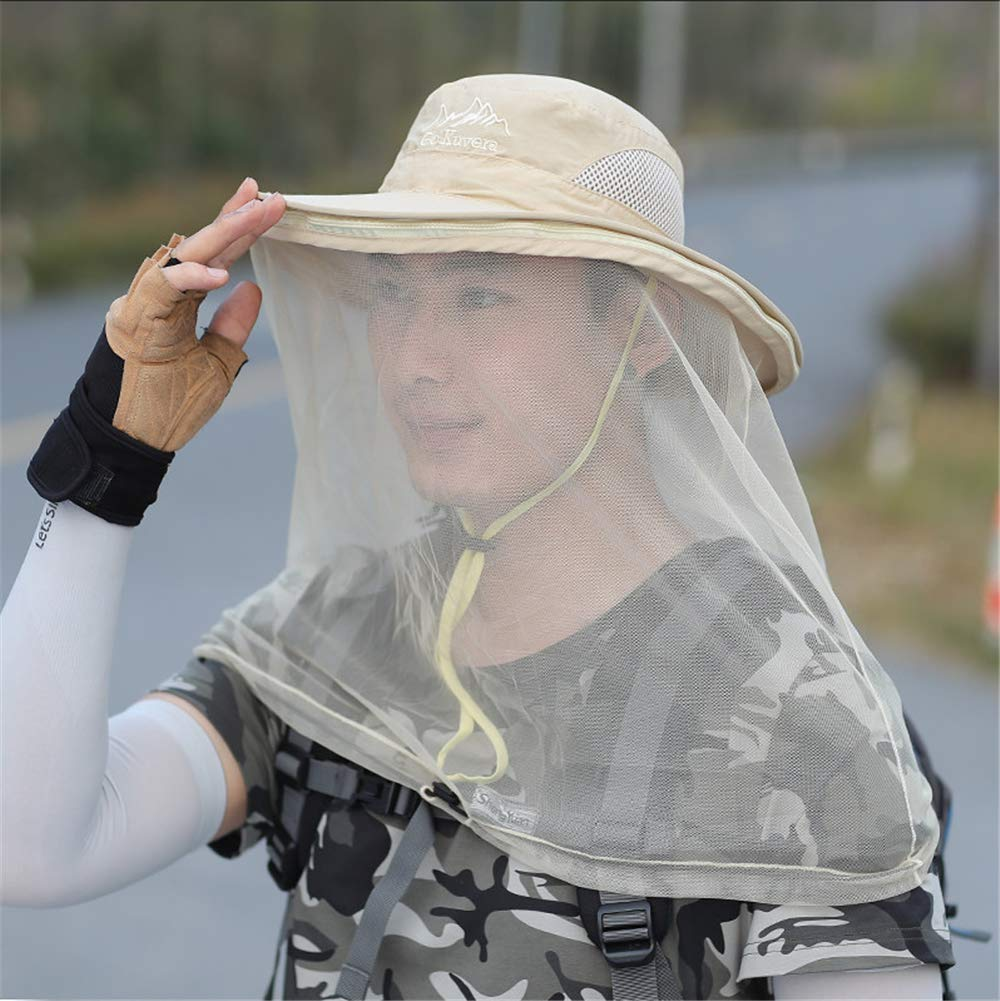 Beige Mosquito Head Net Hat,Mosquito Repellent Head Net,Predection from Insect Bug Bee Gnats Bucket Boonie Hat Cap Outdoor Men,ArmyGreen