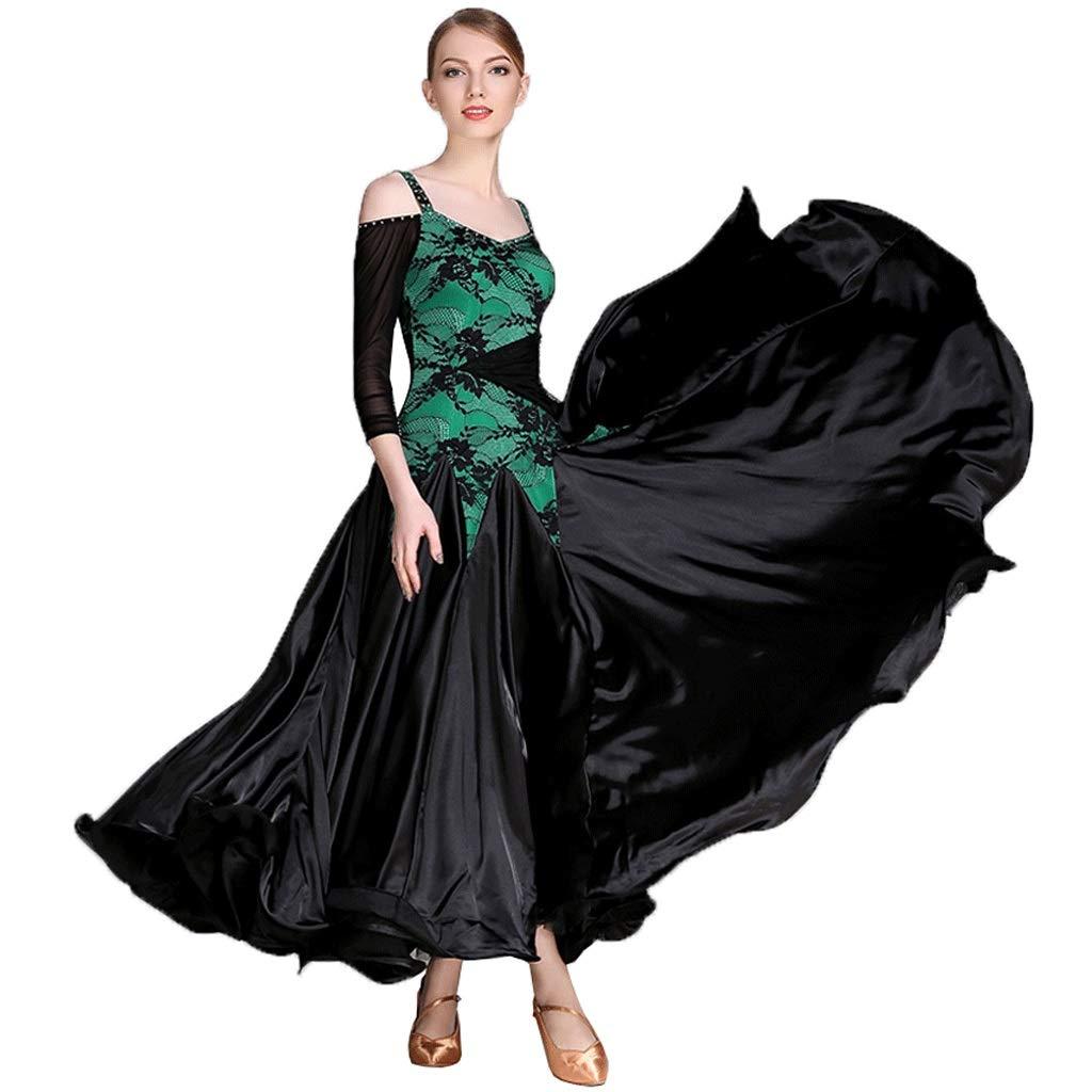 大洲市 女性現代のダンスダンス、標準ボールルームドレス M|グリーン、スリングレースVネックワイドホイールスカート長袖パフォーマンスドレス B07QGWH91K M M|グリーン グリーン B07QGWH91K M, こーてみんかや:01526323 --- a0267596.xsph.ru
