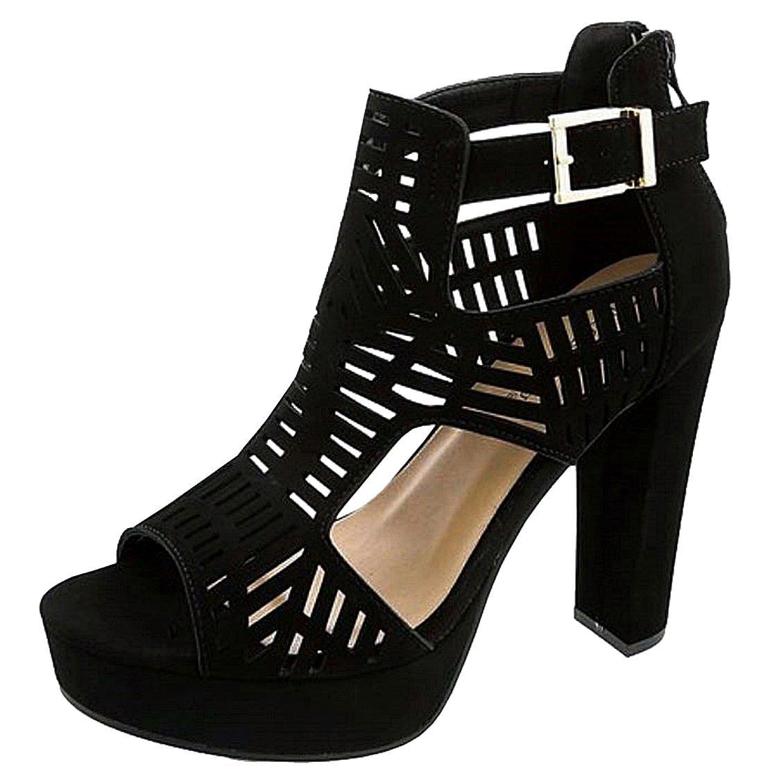 Top Moda Womens High Heel Sandals, Black 8 B(M) US