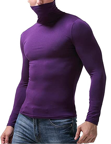 ARTFFEL Mens Solid Turtle Neck Casual Knitted Warm Long Sleeve Pullover Sweater