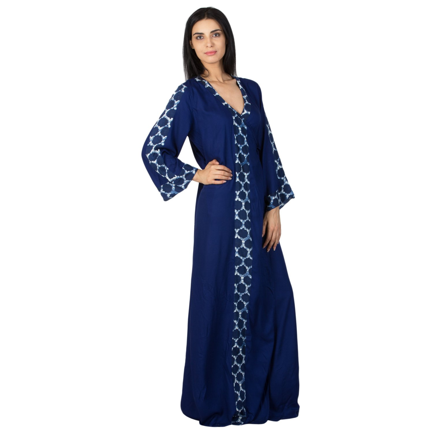 34cf3c122e Patrorna Blended Women s Angrakha Wrap Night Night Gown Dress in Royal Blue  (Size S-7XL