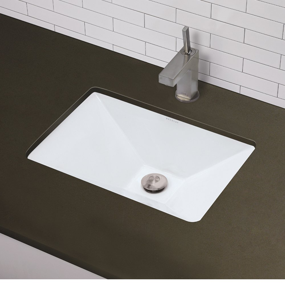 DECOLAV 1409-CWH Amabella Classically Redefined Rectangular Vitreous China Undermount Lavatory Sink White