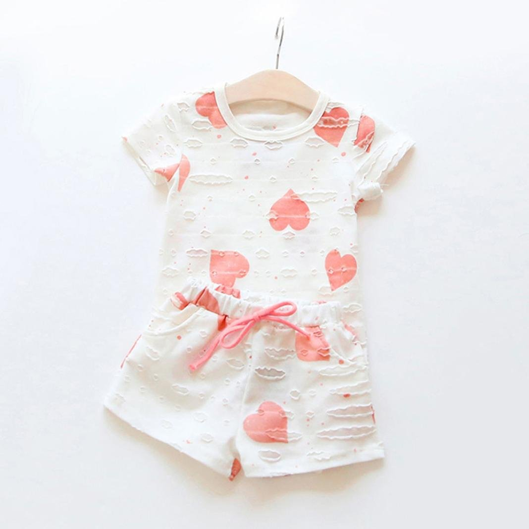 Kingko Kids Baby Girls Short Sleeves T-Shirt Tops Tee+Shorts Pants Trousers Outfits Clothing Set 2-7 Years