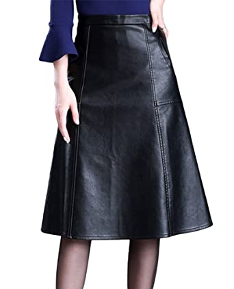 dff6f7b471040 Dooxi Womens High Waist A Line Knee Length Skirt Casual Faux PU Leather  Skirts Black M