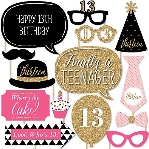 Chic 13th Birthday - Pink, Black and Gold - Photo Booth Props Kit - 20 Count -