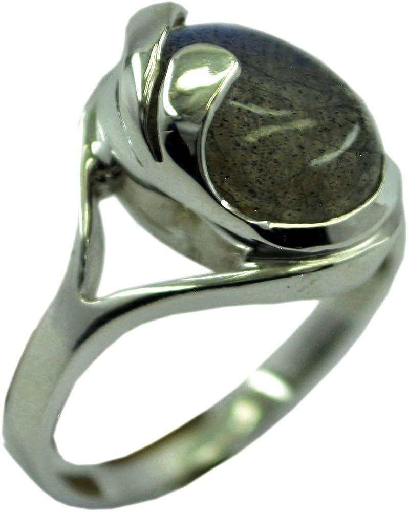 925 Sterling Silver Handmade Designer Solid Unisex Ring Jewelry Size US 6 Elegant Labradorite Oval Shape Gemstone Charm Ring ar5753