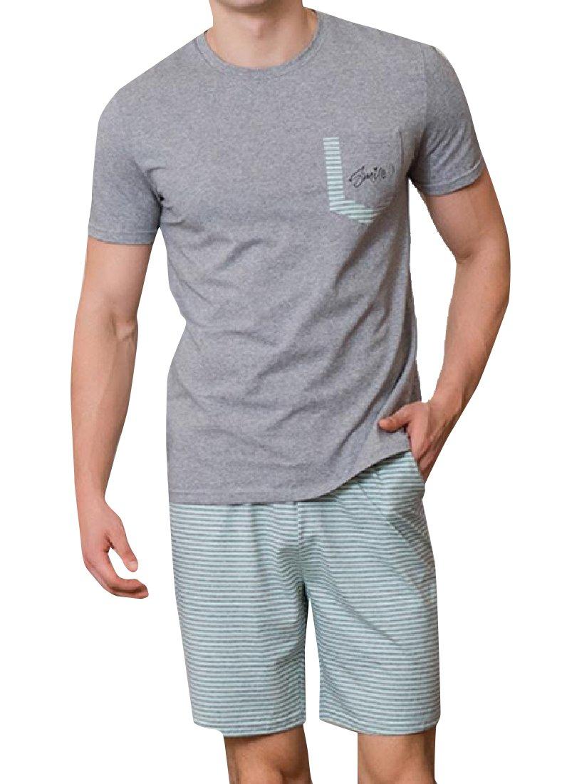 Andopa Men Fine Cotton Jacquard Underwear Bermuda Shorts Pjs Set Light Green XL