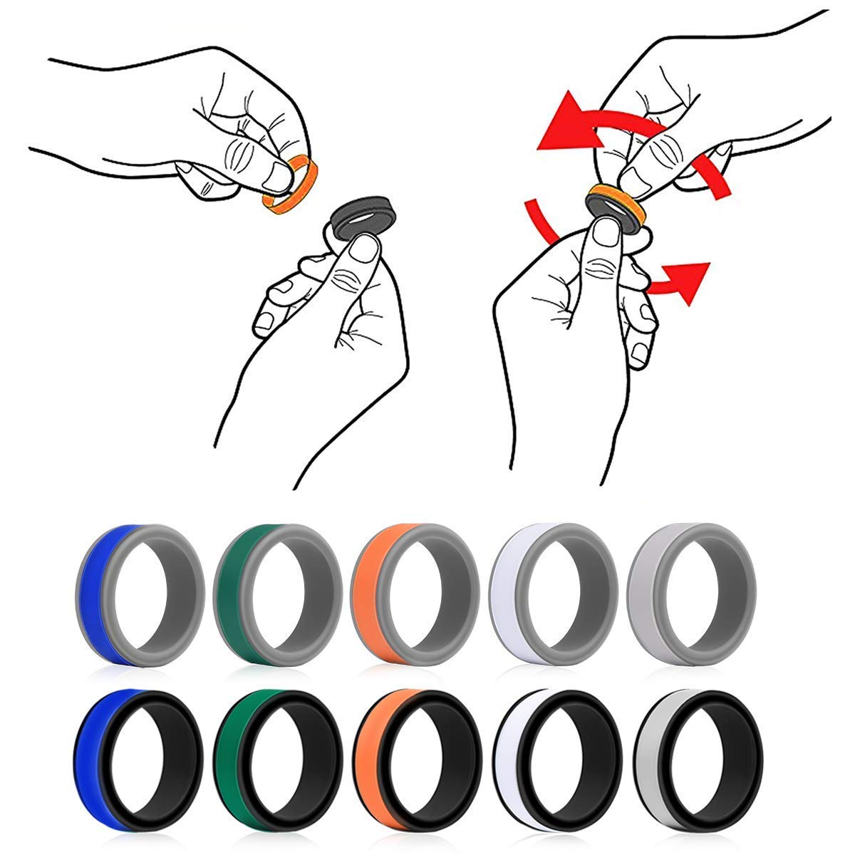 Fitness /… OKELA Silicone Wedding Rings Comfortable and Non-Toxic Rubber Ring for Daily Wear Premium Medical Grade Silicone Wedding Bands for Active Men//Women Travel Work