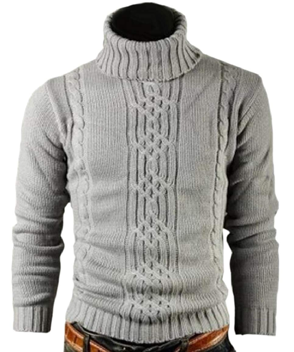 HTOOHTOOH Mens Pullover Thermal Thick Knot Knitted High Neck Sweaters