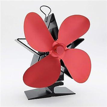 WW Mini Ventilador Chimenea Leña Estrella roja del ventilador del ventilador del ventilador de calor chimenea de leña/combustible/chimenea de combustión de silencio ...