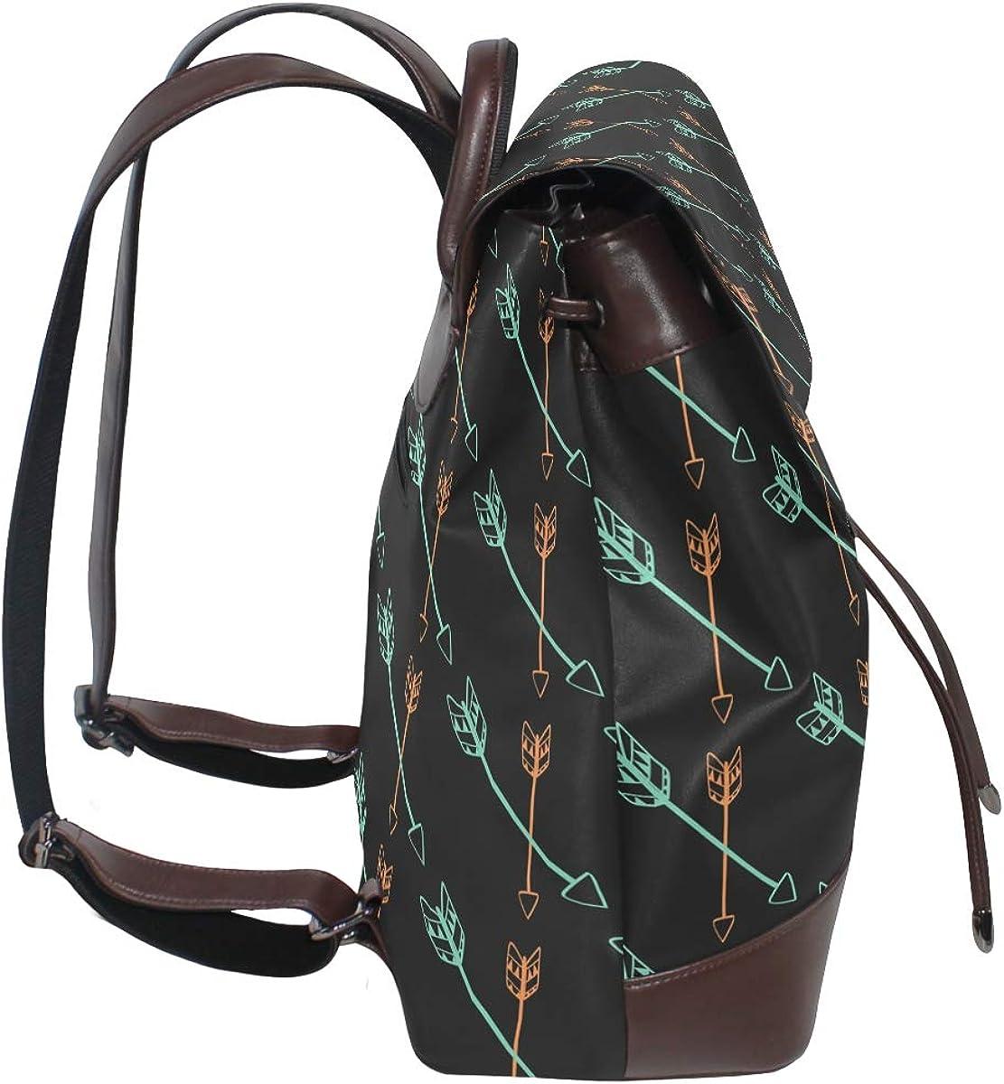 KEAKIA Women PU Leather Feathers Pattern Backpack Purse Travel School Shoulder Bag Casual Daypack