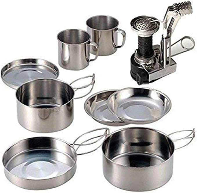 SIMEEGO Camping Cooking Set Ultra-light Aluminum Alloy Camping Cookware Portable Outdoor Cooking Mess Kit Backpacking Gear Includes Tableware Kettle Cooking Pot Frying Pan for 2-3 People Outdoor Camping Hiking and Picnic