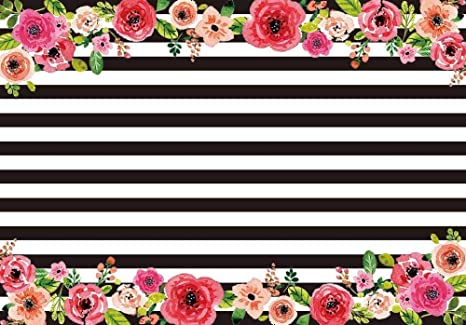 Amazon allenjoy 7x5ft photography backdrops black and white allenjoy 7x5ft photography backdrops black and white stripe watercolor pink flower banner birthday party wedding decoration mightylinksfo