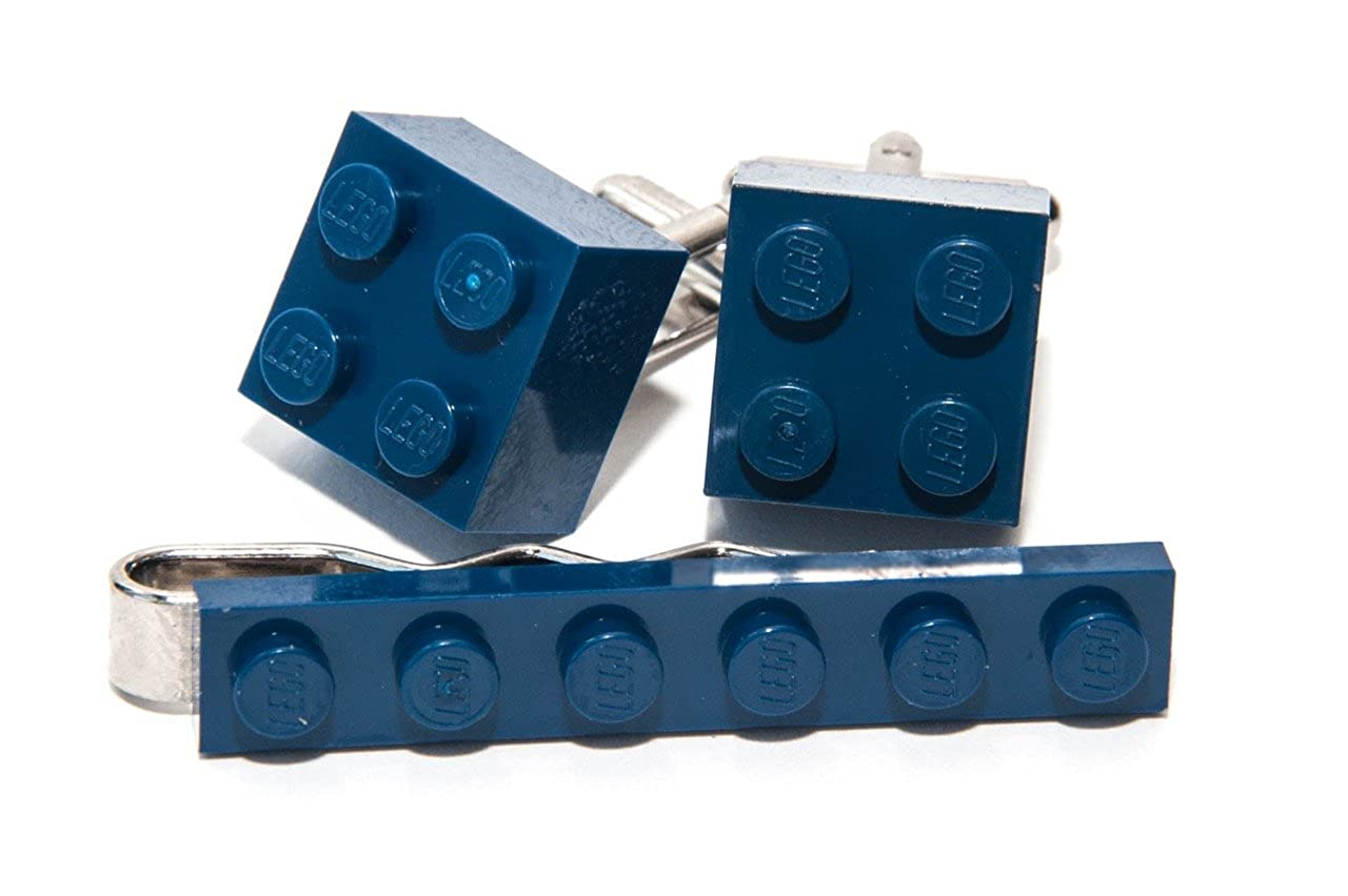 Jeff Jeffers Customs - Set con gemelli e fermacravatta a forma di mattoncini LEGO, dall'elegante stile funky retrò, prodotto originale, colore: blu scuro 01