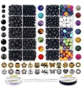 EuTengHao 810Pcs Color Lava Rock Beads Stone Chakra Beads Spacer Beads Kit with Volcanic Gemstone...