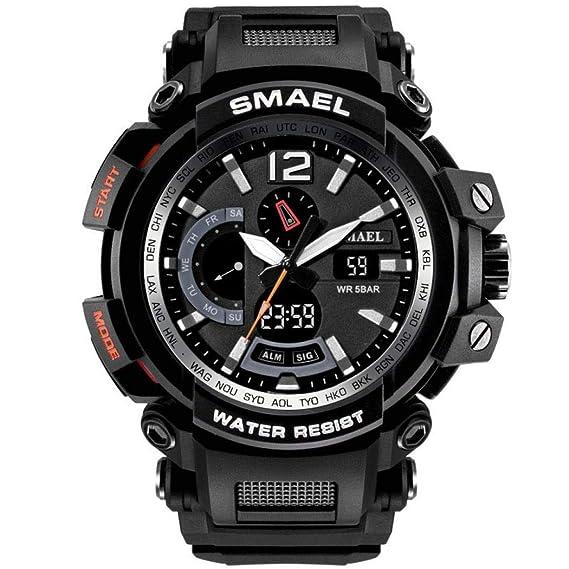 Gets - Reloj deportivo para hombre con pantalla digital analógica y reloj de pulsera LED unisex