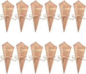 WANDIC Kraft Paper Cones, 50 Pcs Wedding Confetti Cones Bouquet Petals Candy Bags Boxes Flower Holder with Hemp Ropes Label Stickers Tape