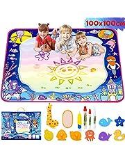lenbest Oceano Acqua Tappeto Doodle 100 x 100cm, Super Grande Doodle Tappeto Magico con 14 Colori Arcobaleno - Set di Rulli Unico - Regalo Giocattolo Educativo per Bambino - età 2 3 4 5+ Anni